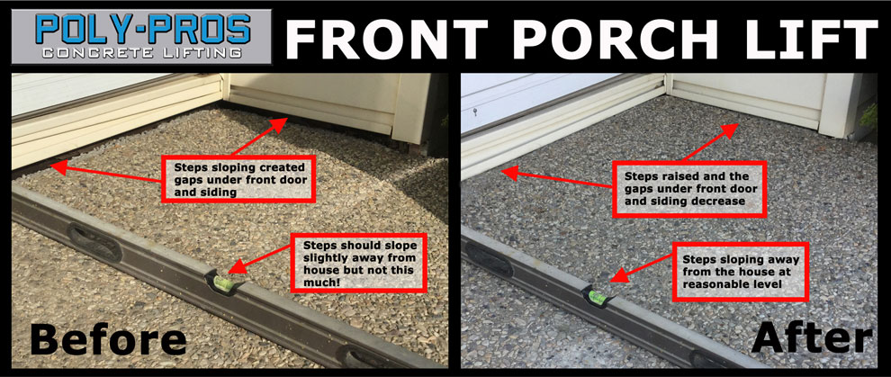 Lifting a Concrete Front Porch with Polyurethane Before and After
